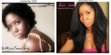 big chop and four year natural hair comparison