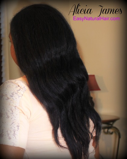 Flat ironed natural hair back Alicia James