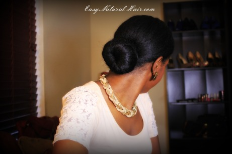 Low sock bun with long natural hair