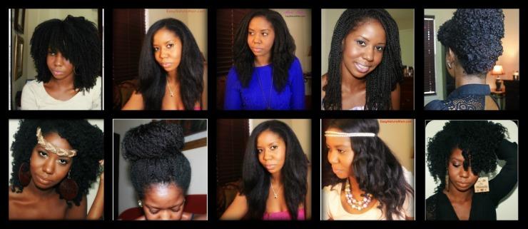 Various hairstyles on natural hair