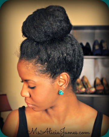 Big High Bun On Natural Hair