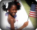 Fourth of July hairstyle for natural hair and curly hair