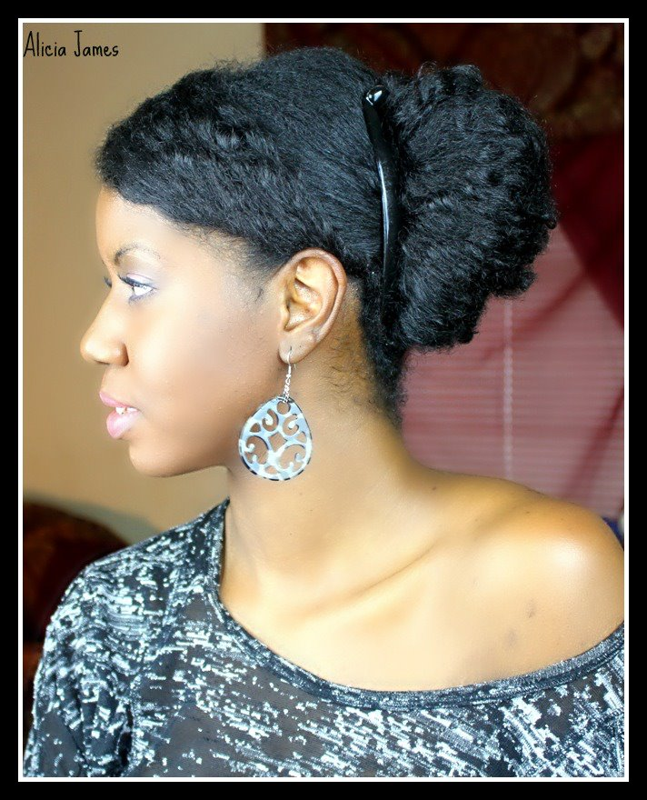 side bun on curly natural hair - Natural Hairstyles