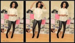 Fall ready full look with faux leather pants and fake wash and go - natural hair