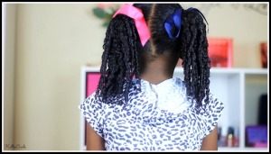 Coils and pigtails on curly hair 3