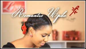 romantic updo hairstyle - natural hair