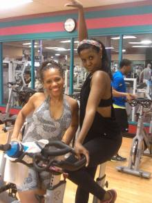 Working out with senegalese twist
